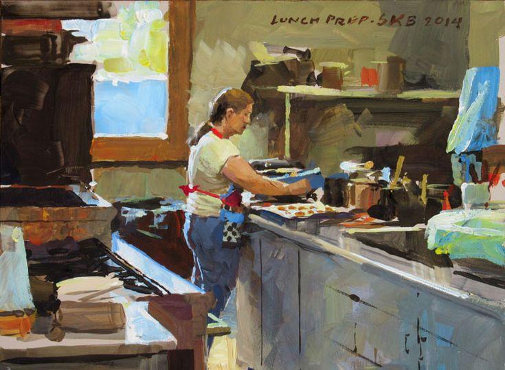 Kitchen Scene, SKB Foundation. Casein painting by James Gurney, 5x8 inches.