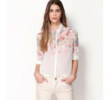 Çiçekli Şifon Gömlek BDB456