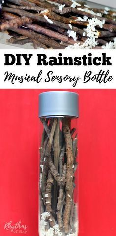 This upcylcled and naturally sourced DIY rainstick musical sensory bottle will help children learn self-regulation skills. This rainstick calm down bottle is a musical instrument that is fun to watch and listen to. It makes the sound of pitter-patting rain when tipped from top to bottom. Discovery bottles are also great for no mess safe sensory play for kids. Babies, toddlers, and preschoolers can safely investigate small objects without the risk of choking.
