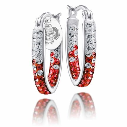 Officially Licensed Ohio State Buckeyes sterling silver and Swarovski crystal oval hoop earrings. $49