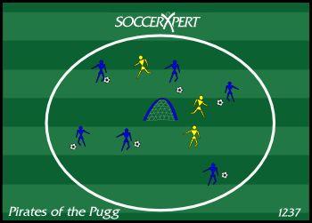 Pirate Game, Pugg Net, soccer dribbling skills, pirate of the pugg, pugg goal, goals, goal