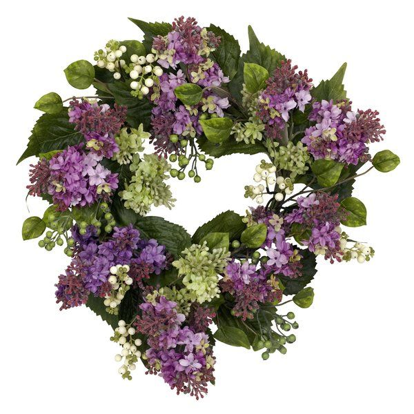 Adorned With Faux Lilacs And Berries This Lifelike Wreath Is A Welcoming Accent In The Entryway Or Displayed Above Your Silk Wreaths Artificial Wreath Wreaths