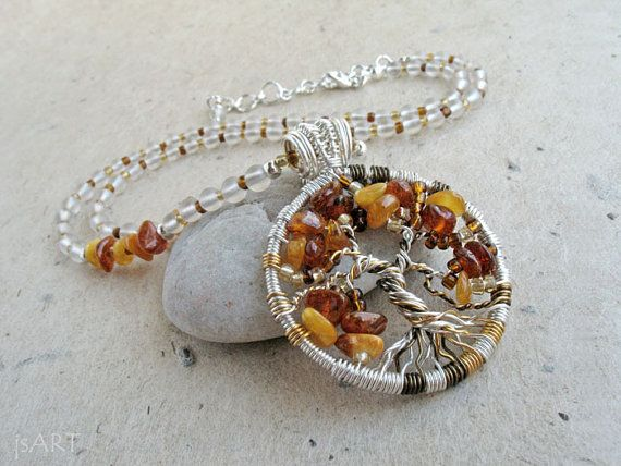 ON SALE Amber Tree of Life Pendant, Tree Necklace, Chakra Balancing, gemstone, silver, bronze, gold, red, yellow, white, wire wrapped