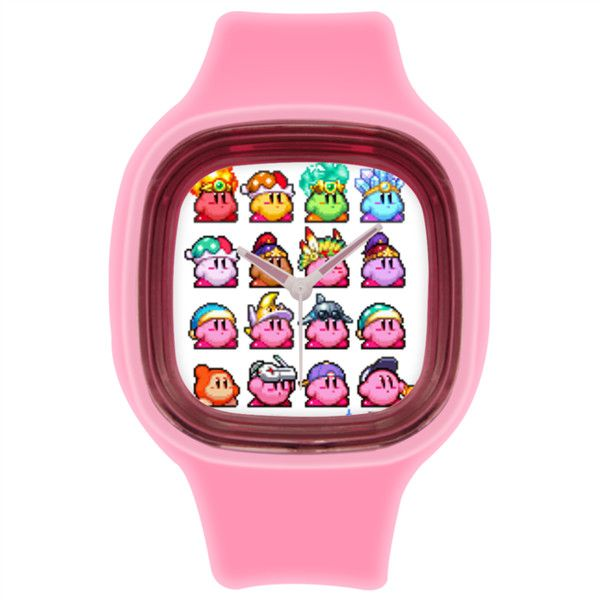Bright 8bit Pink Retro cute hipster print watch Pink Square Silicone... ($26) ❤ liked on Polyvore featuring jewelry, watches, silicon watches, retro style jewelry, square wrist watch, silicone jewelry and leather-strap watches
