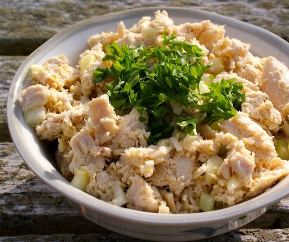 Chunky Chicken salad from left over roast chicken