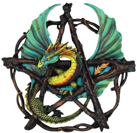 From the artwork of Anne Stokes, a beautiful fusion of the natural with the magical, the forest pentagram dragon portrays a verdant green dragon with its serpentine body entangled within a pentagram woven of sculpted sticks. With the dragon featuring accents that remind one of the colors of leaves during the fall, it is a wonderful reminder of the spiritual forces at play during the seasons. This beautiful dragon is also often revered as powerful spirit of nature within its own right…