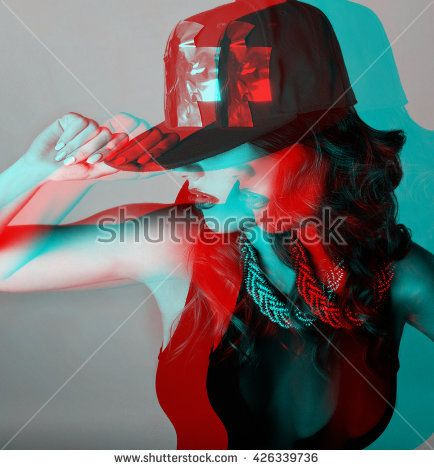 three-dimensional picture of a beautiful young sexy girl in dance