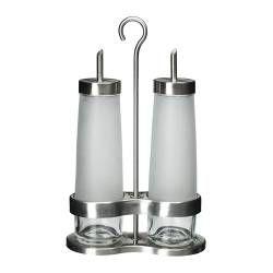 ДРОППАР Набор для масла/уксуса, 3 предм, матовое стекло, нержавеющ сталь - IKEA