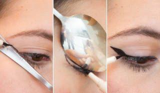 Great wingtip trick for eyeliner. Spoon eyeliner wingtip makeup tricks /