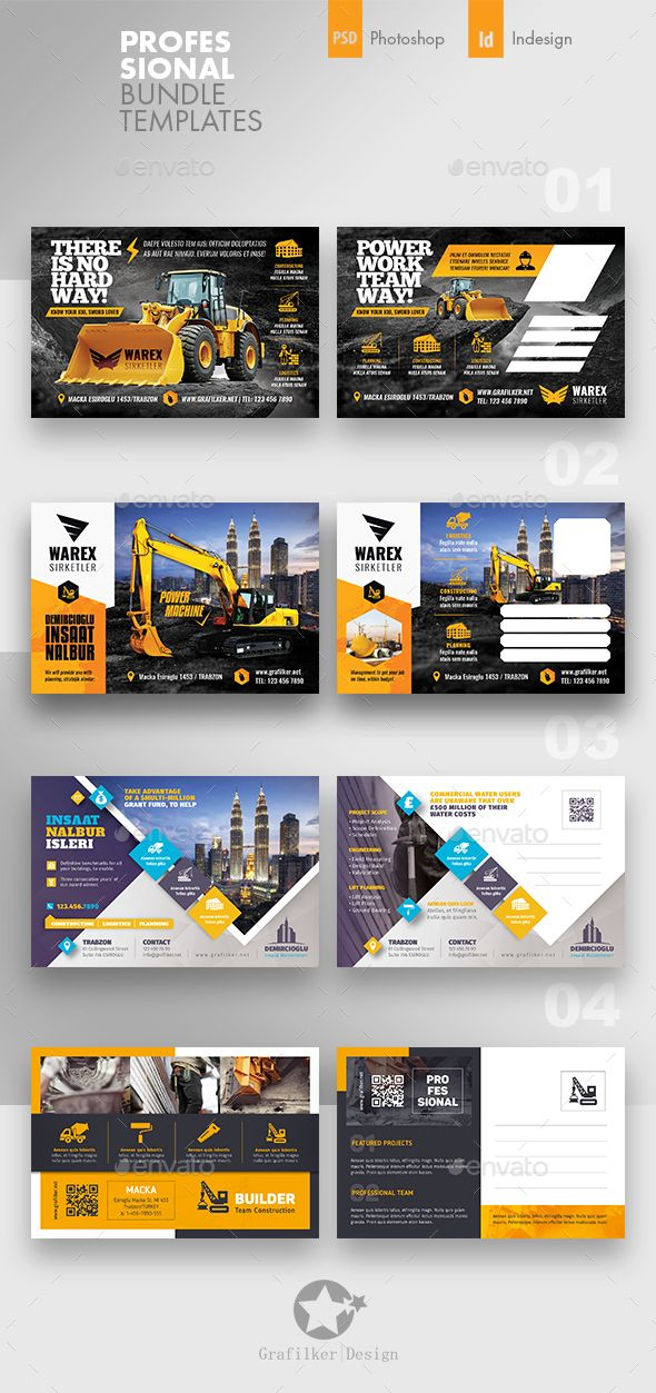 4 construction postcard templates psd indesign indd 300 dpi