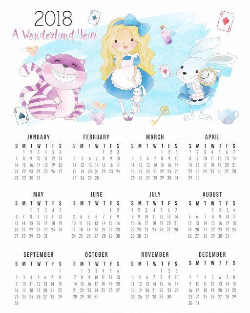 Calendario 2018 de Alicia en el País de las Maravillas para Imprimir Gratis.