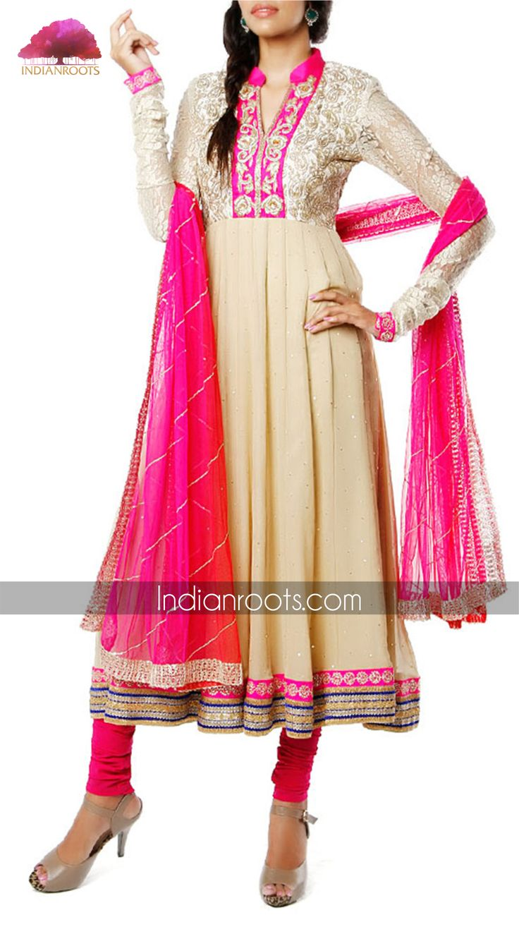 Beige & pink anarkali by Bhumika Grover on Indianroots.com