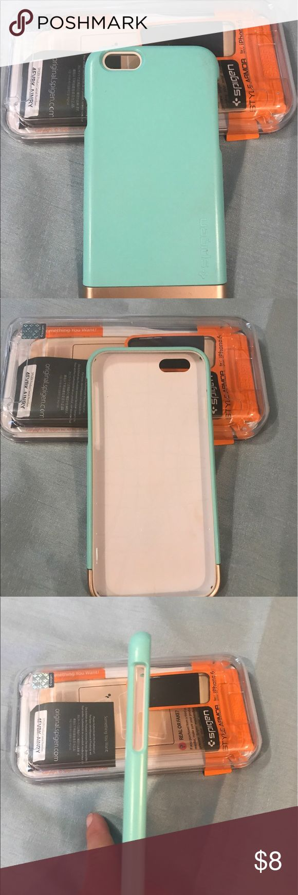 🌸Spigen IPhone 6 case🌸 Spigen IPhone 6 cover. Style is Armor. Has a soft inner TPU layer to protect phone when sliding in or out of case. Has hard polycarbonate cover with bottom piece that slides out for inserting or removing phone. Color is Mint and Champaign Gold. Has some scratches on cover and on gold bottom. Still in good condition. Spigen Accessories Phone Cases