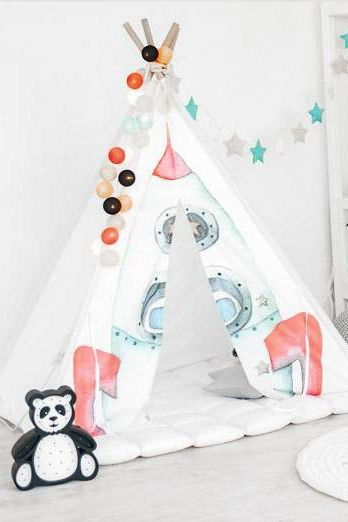 Space Rocket Kids Tepee (wigwam) to buy on Etsy - HappySpacesWorkshop - kids teepee, tipi, children's playhouse, indoor outdoor play house, tepee for kids, boys room ideas, boys teepee, kids decor, детский декор, вигвам