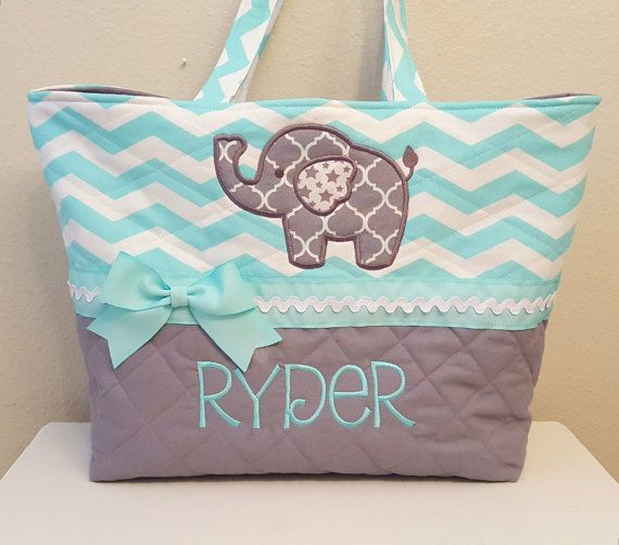 Hey, I found this really awesome Etsy listing at https://www.etsy.com/listing/295278717/baby-blue-chevron-elephant-diaper-bag