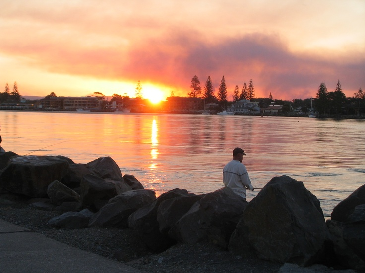 sunset with fire forster