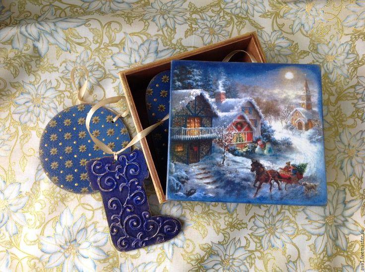 """Купить """"Синее Рождество"""" Гирлянда в подарочном коробе - Новый Год, новогодний подарок, новогодний сувенир"""