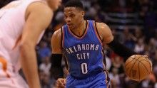 PHOENIX, AZ - APRIL 07:  Russell Westbrook #0 of the Oklahoma City Thunder handles the ball during the first half of the NBA game against the Phoenix Suns at Talking Stick Resort Arena on April 7, 2017 in Phoenix, Arizona.  NOTE TO USER: User expressly acknowledges and agrees that, by downloading and or using this photograph, User is consenting to the terms and conditions of the Getty Images License Agreement.  (Photo by Christian Petersen/Getty Images)