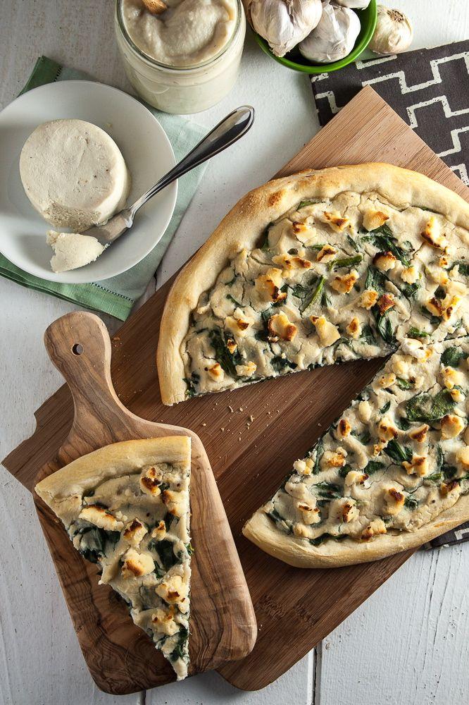 Roasted Garlic White Pizza with Macadamia Ricotta Salata & Spinach -