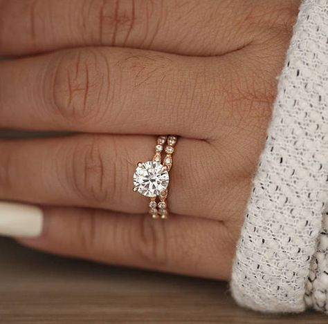 Wedding Ring Set, Moissanite Rose Gold Engagement Ring, Round 8mm Moissanite Ring, Diamond Milgrain Band, Solitaire Ring, Promise Ring – Rachel Spitz