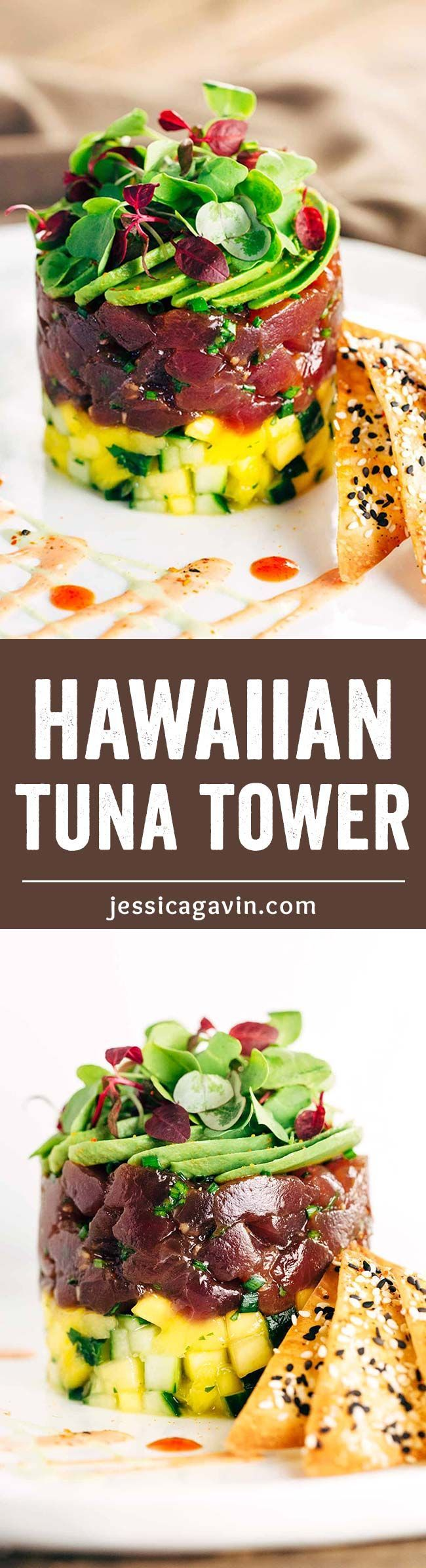 Hawaiian Bigeye Tuna Tower with Sesame Wonton Crisps - Simple yet elegant recipe combines bold flavors of the delectable ahi tuna with the crunchy baked spiced crackers.   jessicagavin.com