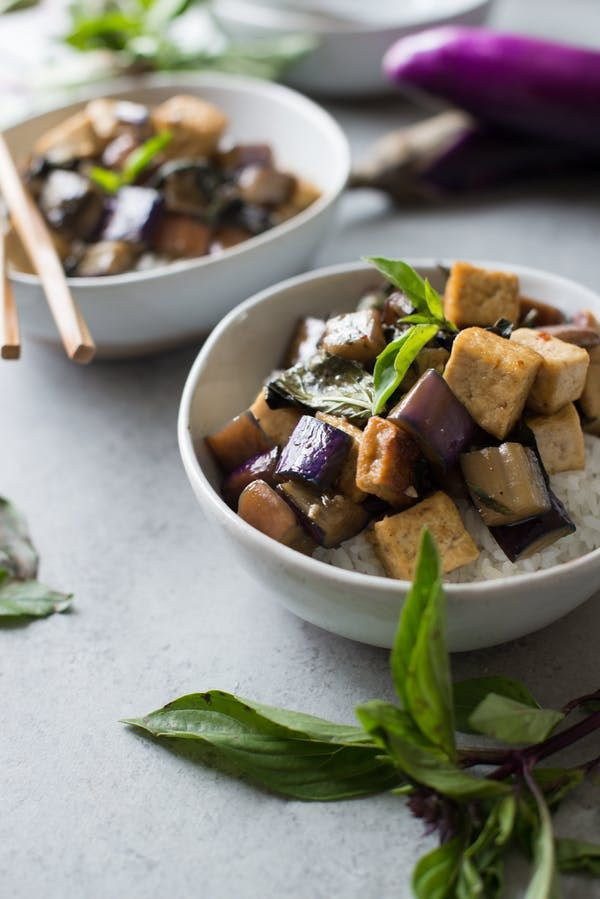 stir fried garlic tofu and eggplant