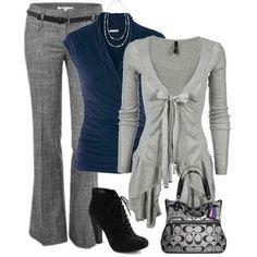 charcoal pants, navy tank, light grey cardi. black heels/flats?