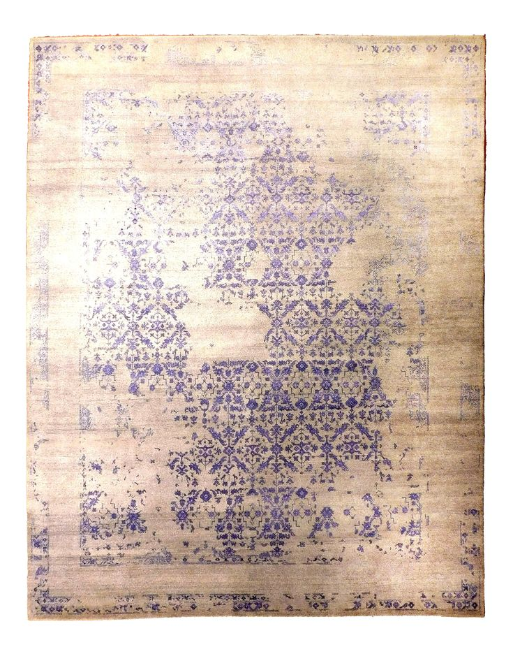 Hand Knotted Indian Erased Rug. 8'x 10'