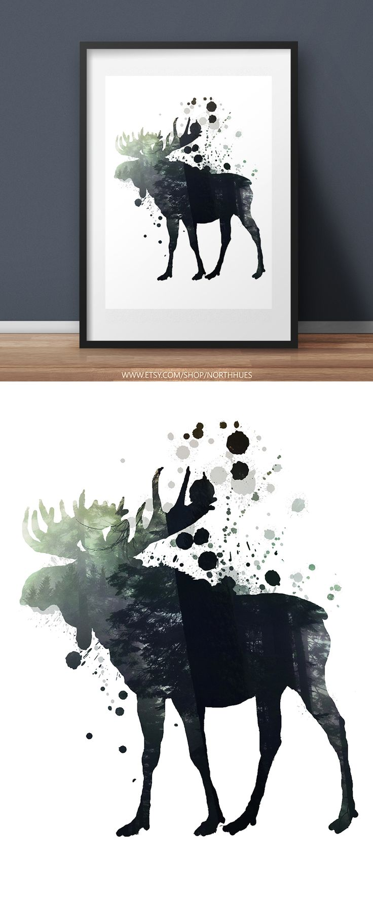 Moose Poster Design. Digital Download. Soon available in physical copies! https://www.etsy.com/no-en/listing/536368381/moose-poster-paint-splatter-double?ref=shop_home_active_13