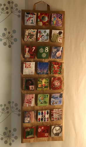 Green Calendar  Make an Advent calendar by using recycled materials.- like these pockets - want to do a Janmastami calender for lead up! could see it with pictures and maybe some cute facts or a tiny pastime story in each pocket  Learn how on craftastica.