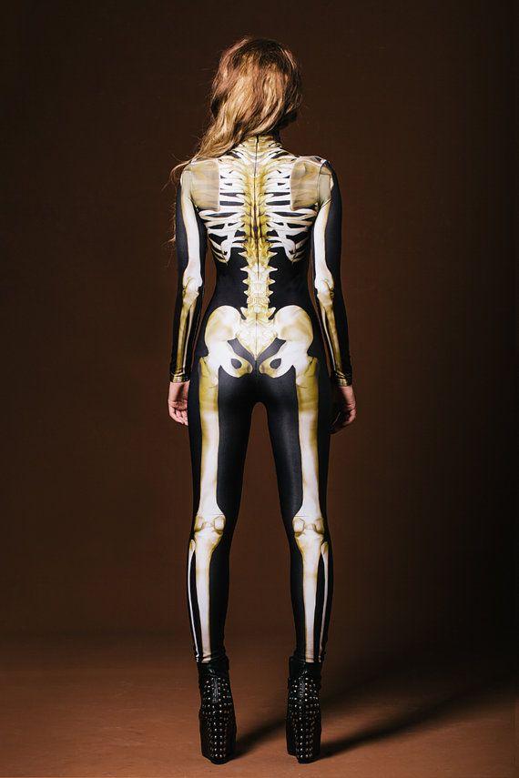 Costume de squelette Fullbody Womens Halloween Costume par BADINKA