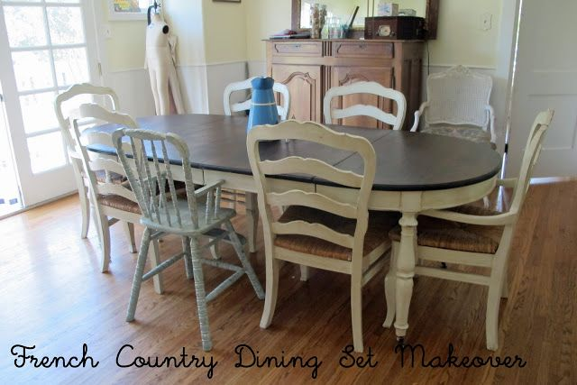 French Country Glazed Creamy Painted Dining Set Glazed
