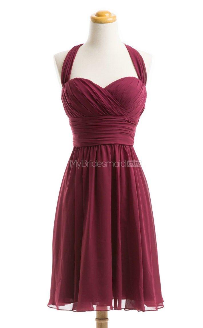 Exquisite Burgundy Short Bridesmaid Dress,Short Bridesmaid Dresses