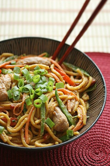 Spicy Peanut Butter Noodles with Pork