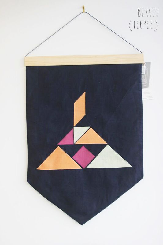 Teepee Linen Wall Banner by PINT SIZE GOODS (The Tangram Tribe Collection)