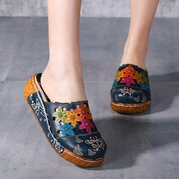 SOCOFY Original Flower Wedge Retro Genuine Leather Shoes - US$69.50