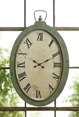 vintage inspired green patina noran oversized wall clock wall decor