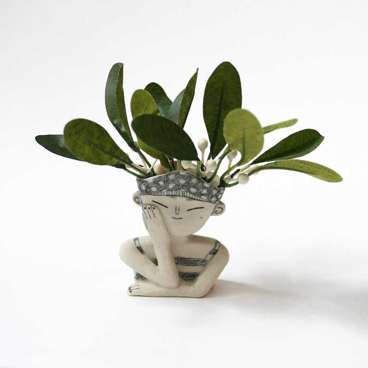 'Pondering Planters', Ceramic Portraits with Wild Plant Hairdos by Kimberlie Wong.