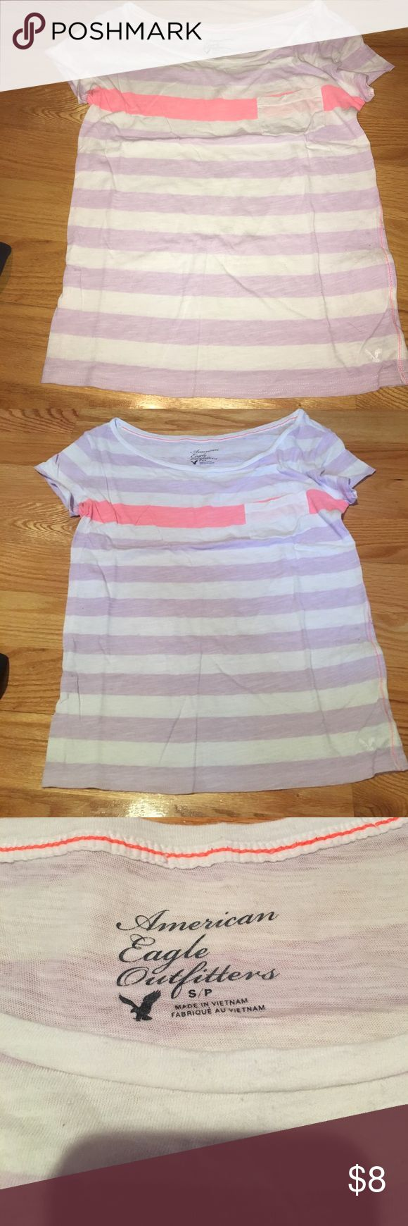 American eagle shirt Excellent condition! Worn once!! Coral stripe in the middle! American Eagle Outfitters Tops Tees - Short Sleeve