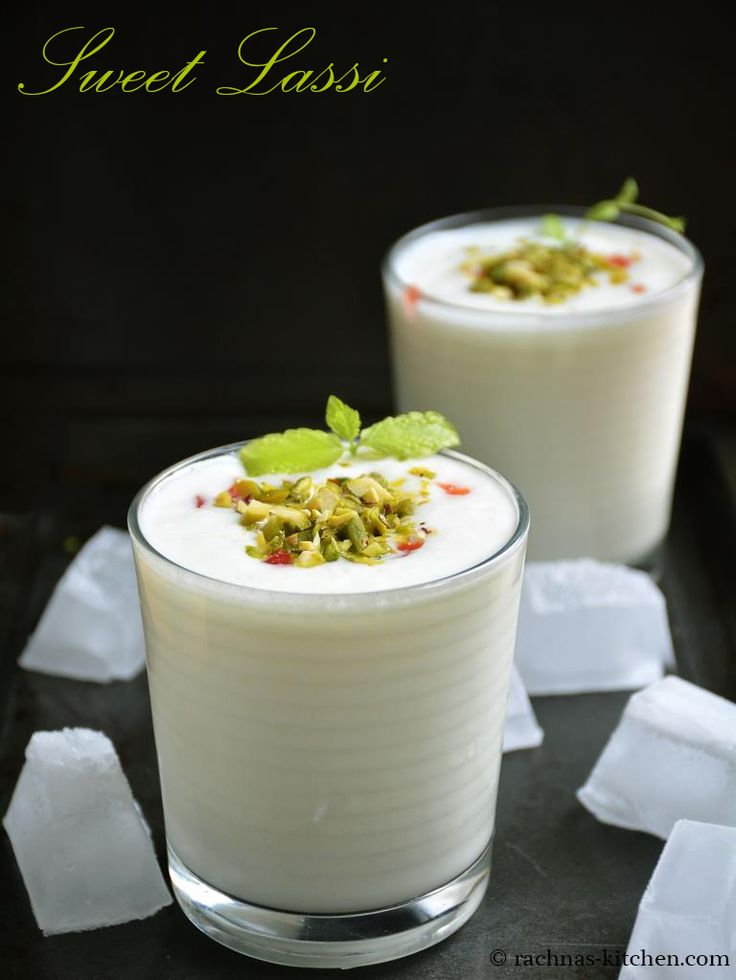 Yogurt Lassi Lassi is a chilled sweet yogurt drink. It tastes awesome when flavoured with cardamom and topped with chopped nuts.
