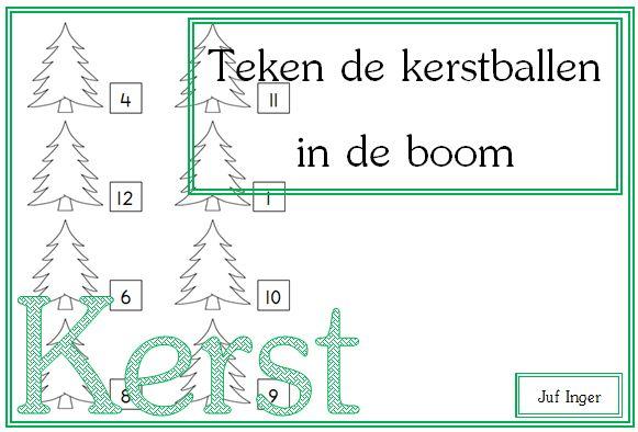 Teken de kerstballen in de boom - juf Inger
