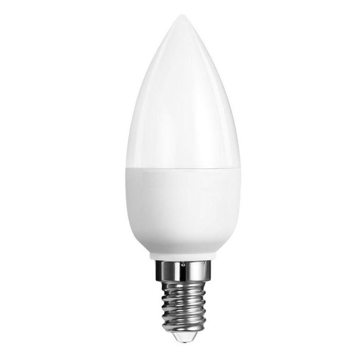 Lampadina LED Candela 6W E14dona un design all'illuminazione a LED sobrio!Ideale per i lampadari in stile o moderni con attacco piccolo. Luce Calda.