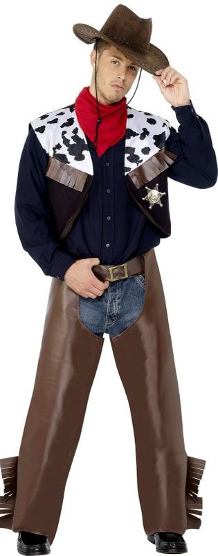 Brown Cowboy Costume  Code: FCCBBR-M  Brown cowboy costume includes chaps and waistcoat. Great for themed parties and general fancy dress. Sizes indicated below are chest measurements.  Availability Although we keep the most popular costumes in stock we do not stock every costume in every size but we can usually get them within 24 hours. If you need your costume within the next two working days please phone or email us to check availability. £15.95