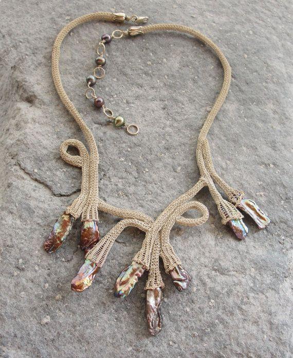 Pearl Necklace Sterling Silver Kazaziye Handwoven by StaroftheEast