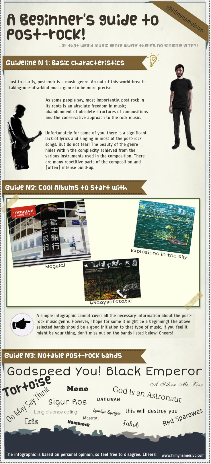 #Infographic: #postrock #music guide beginner     Bands: this will destroy you, isis, explosions in the sky, mogwai, god is an astronaut, mono, sigur ros and many more post-rock bands! #infographics