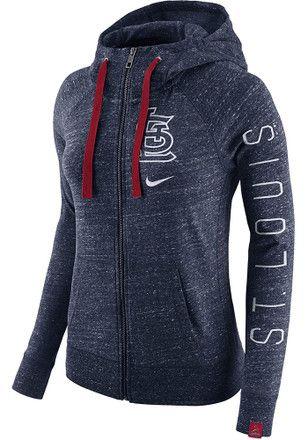 Nike STL Cardinals Womens Navy Blue Vintage Full Zip Jacket