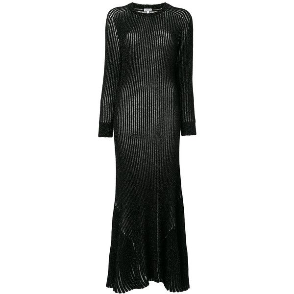 Loewe ribbed dress ($2,600) ❤ liked on Polyvore featuring dresses, black, pattern dress, long-sleeve maxi dresses, long sleeve flare dress, long dresses and long sleeve print dress