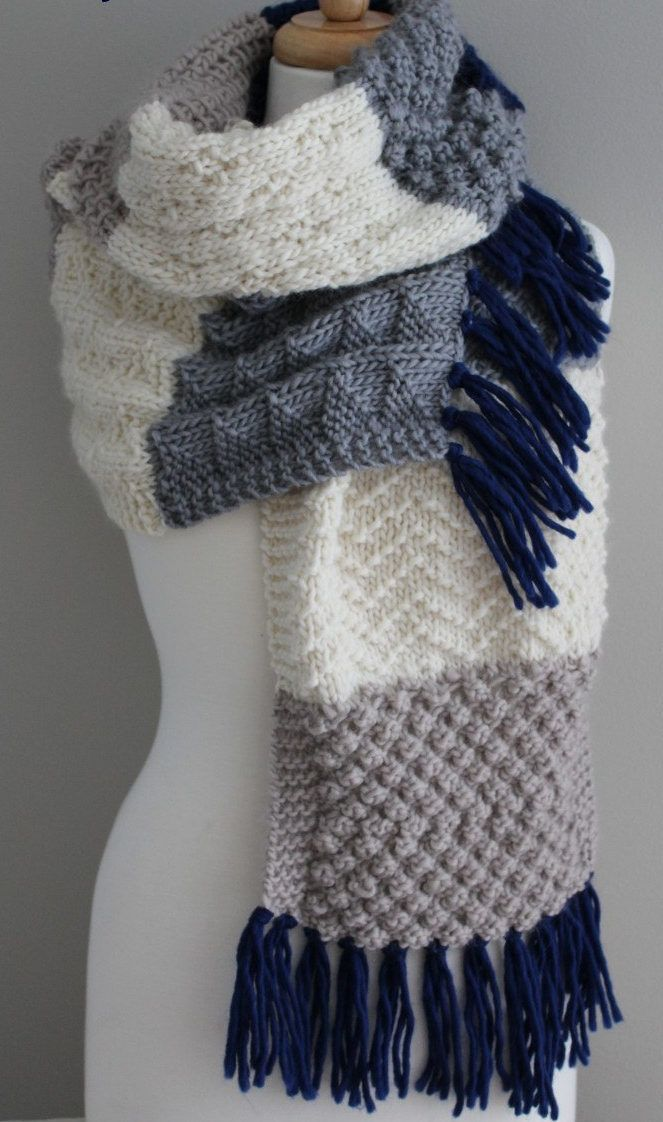 Knitting Pattern for Sampler Super Scarf - This cozy scarf features 11 sections and 7 different stitch patterns. Finished measurements are 12″ x 77″ plus fringe.