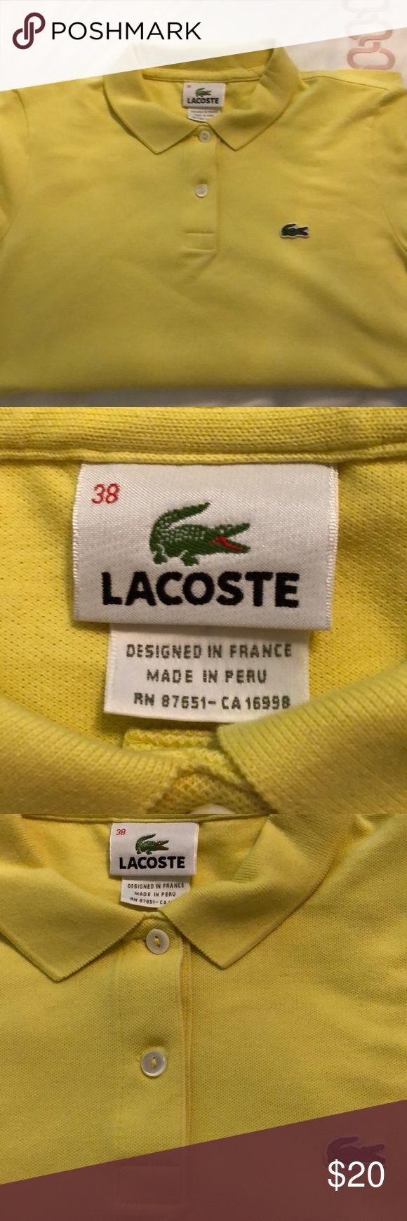 Women's Yellow Lacoste Shirt Lacoste polo shirt Lacoste Tops Button Down Shirts