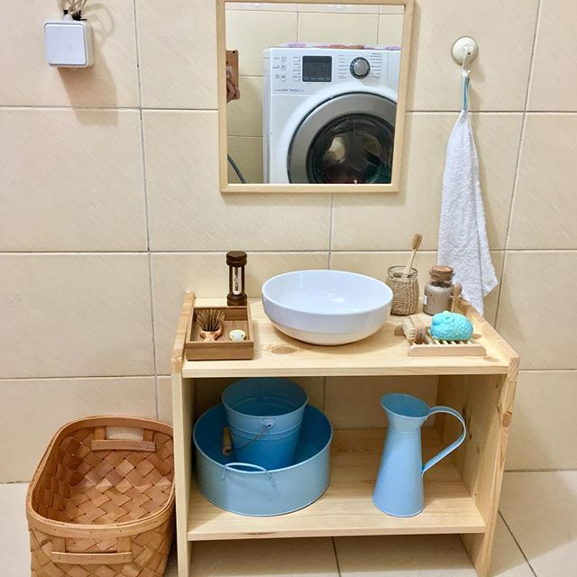 Self-care station in a Montessori bathroom.